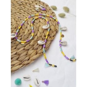 diy-pakket-zonnebrilkoordje-paars-mint-en-geel-met-schelpjes
