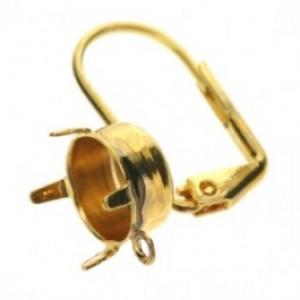 Klapoorhaak goud met oogje voor puntsteen voor SS39
