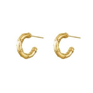 Stainless steel oorbellen / creolen india 16mm goud per paar