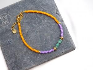 DIY pakket kralenarmbandje orange purple naturestone