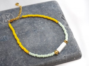 DIY pakket kralenarmbandje yellow blue naturestone