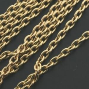 Dq jasseron ovalen schakel 2x3mm goud per meter