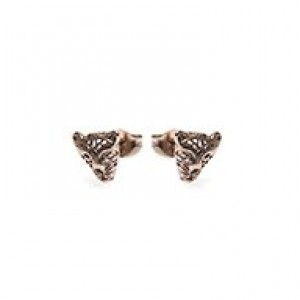 Minimalistische oorbellen symbols panther 925 sterling zilver (roseplated / per paar)