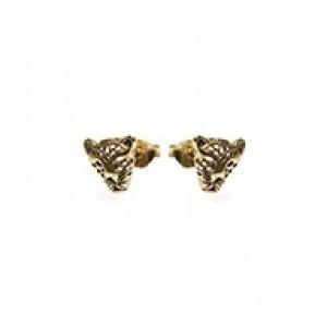 Minimalistische oorbellen symbols panther 925 sterling zilver (goldplated / per paar)