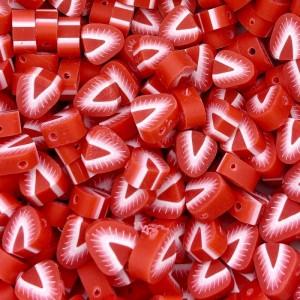 Aardbei kraal rood 11mm (per stuk)