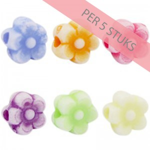 Acryl kralen candy crush multicolour bloem 7mm (per 5 stuks)