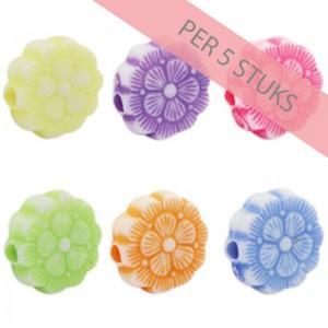 Acryl kralen candy crush multicolour bloem 9mm (per 5 stuks)