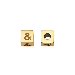 &And kraal vierkant 5mm Ø2.5mm goud stainless steel (per stuk)