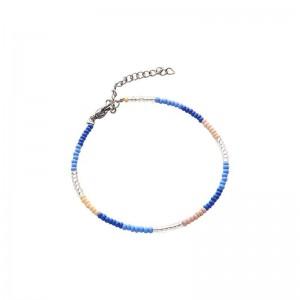 Armbandje kralen Biba kleurenmix blauw zilverkleurig