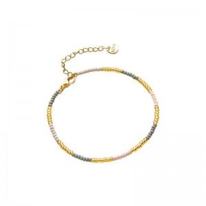 Armbandje kralen Biba kleurenmix grijs goudkleurig