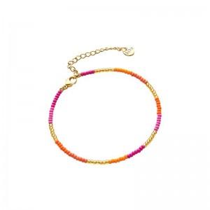 Armbandje kralen Biba kleurenmix oranje goudkleurig