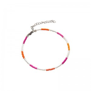 Armbandje kralen Biba kleurenmix oranje zilverkleurig