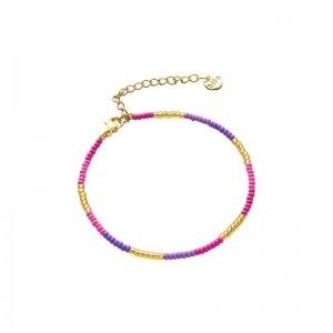 Armbandje kralen Biba kleurenmix roze goudkleurig
