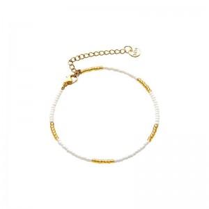 Armbandje kralen Biba kleurenmix wit goudkleurig