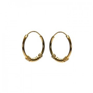 Bali oorbellen hoops 100 925 sterling zilver goldplated 16mm