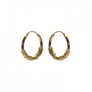 Bali oorbellen hoops 91 925 sterling zilver goldplated 14mm