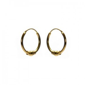Bali oorbellen hoops 95 925 sterling zilver goldplated 14mm