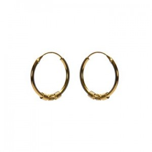 Bali oorbellen hoops 99 925 sterling zilver goldplated 16mm