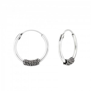 Bali oorbellen hoops mix 6 (16mm) 925 sterling zilver (per paar)