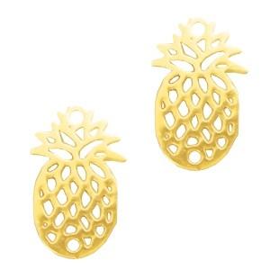 Bedel bohemian ananas goud 15x10mm