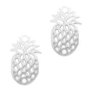 Bedel bohemian ananas zilver 15x10mm