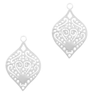 Bedel bohemian druppelvorm zilver 24x15mm