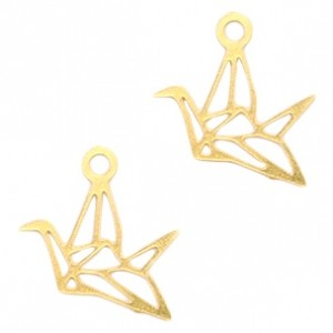 Bedel bohemian geometric bird goud 10x9mm