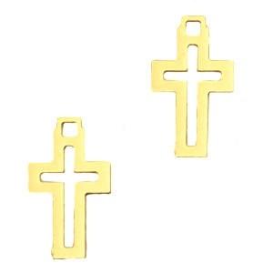 Bedel bohemian kruis goud 12x7mm