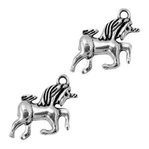 Bedel eenhoorn 23x16mm zilver