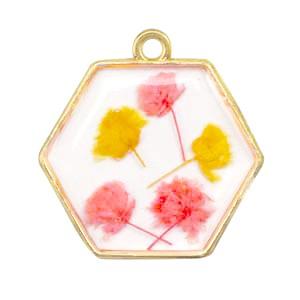 Bedel gedroogde bloemetjes hexagon goud pink yellow 28mm