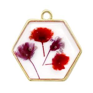 Bedel gedroogde bloemetjes hexagon goud red 28mm