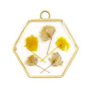 Bedel gedroogde bloemetjes hexagon goud yellow 28mm