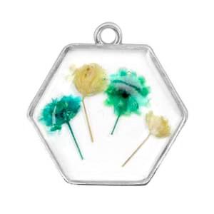 Bedel gedroogde bloemetjes hexagon zilver green yellow 28mm