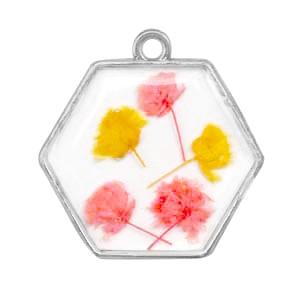 Bedel gedroogde bloemetjes hexagon zilver pink yellow 28mm