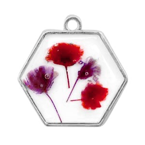 Bedel gedroogde bloemetjes hexagon zilver red 28mm