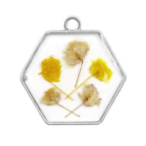 Bedel gedroogde bloemetjes hexagon zilver yellow 28mm