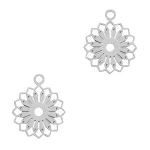 Bedel / hanger bohemian bloem zilver 12x10mm