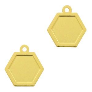 Bedel / hanger bohemian hexagon goud 12x11mm