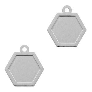 Bedel / hanger bohemian hexagon zilver 12x11mm