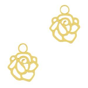 Bedel / hanger bohemian roos goud 10x9mm