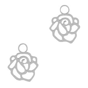 Bedel / hanger bohemian roos zilver 10x9mm
