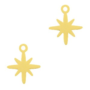Bedel / hanger bohemian ster goud 12x10mm