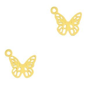 Bedel / hanger bohemian vlinder goud 10x9mm