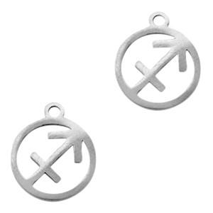Bedel / hanger sterrenbeeld boogschutter zilver stainless steel 13x11mm (Ø1.5mm)