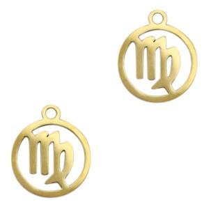 Bedel / hanger sterrenbeeld maagd goud stainless steel 13x11mm (Ø1.5mm)