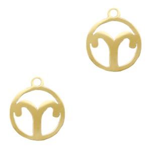 Bedel / hanger sterrenbeeld ram goud stainless steel 13x11mm (Ø1.5mm)