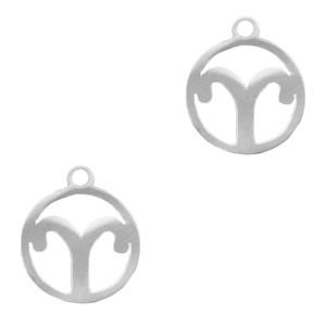 Bedel / hanger sterrenbeeld ram zilver stainless steel 13x11mm (Ø1.5mm)