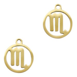 Bedel / hanger sterrenbeeld schorpioen goud stainless steel 13x11mm (Ø1.5mm)