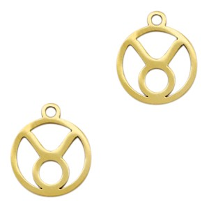 Bedel / hanger sterrenbeeld stier goud stainless steel 13x11mm (Ø1.5mm)