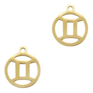 Bedel / hanger sterrenbeeld tweeling goud stainless steel 13x11mm (Ø1.5mm)